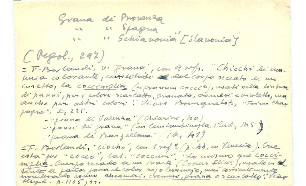 Vista ampliada de la ficha escaneada con el texto para la entrada grana ( 10 de 103 )