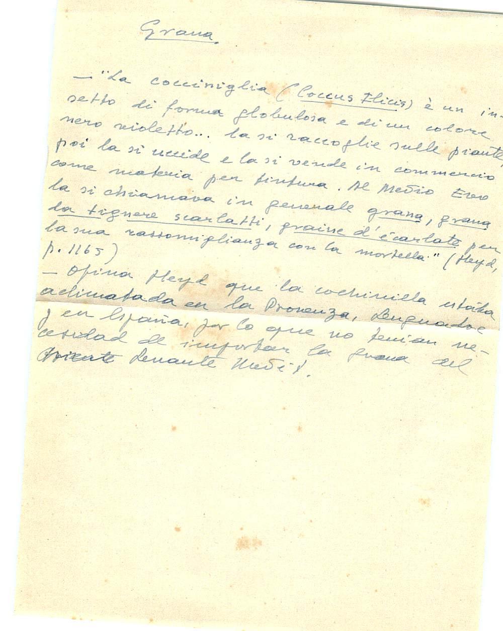 Vista ampliada de la ficha escaneada con el texto para la entrada grana ( 11 de 103 )