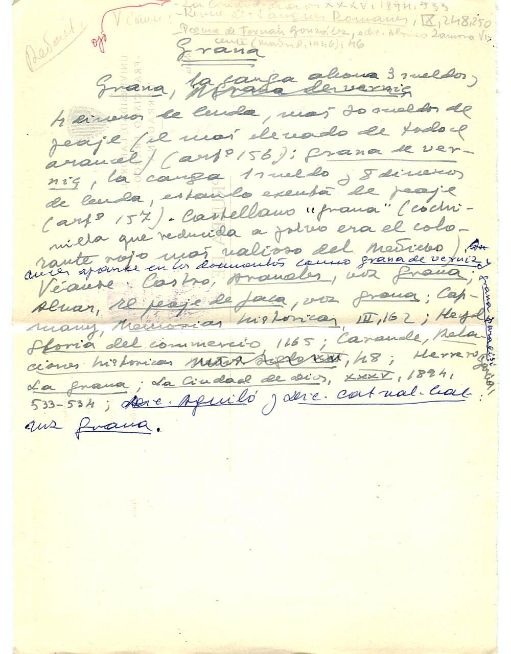 Vista ampliada de la ficha escaneada con el texto para la entrada grana ( 12 de 103 )
