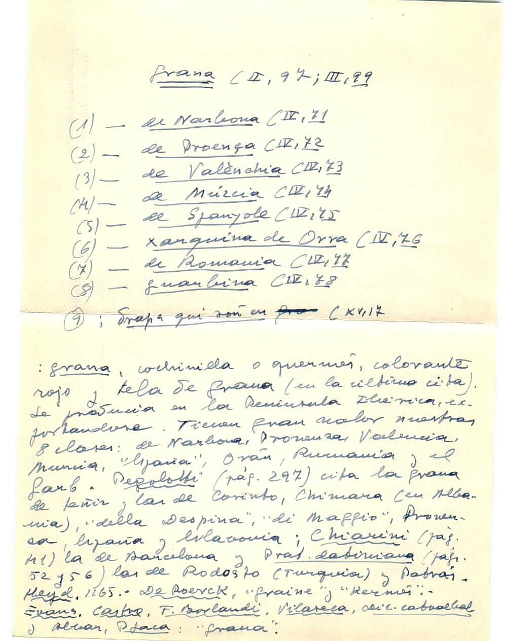 Vista ampliada de la ficha escaneada con el texto para la entrada grana ( 13 de 103 )