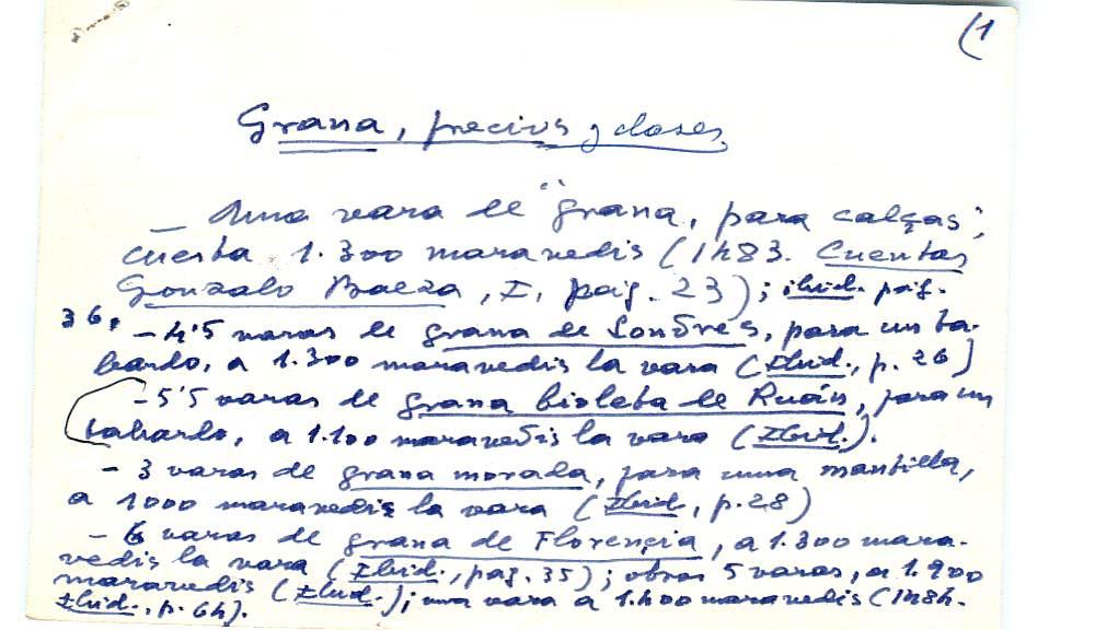 Vista ampliada de la ficha escaneada con el texto para la entrada grana ( 14 de 103 )