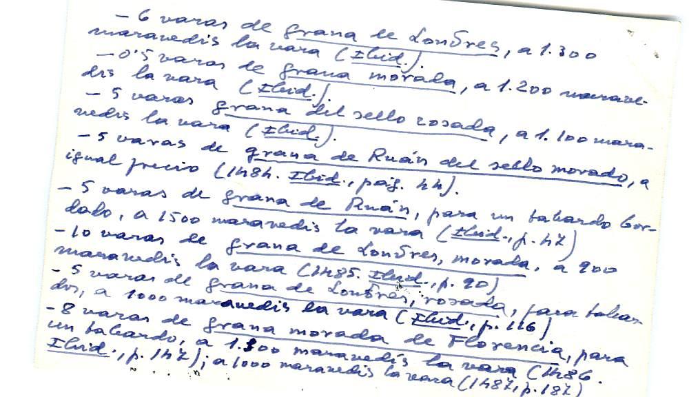 Vista ampliada de la ficha escaneada con el texto para la entrada grana ( 15 de 103 )