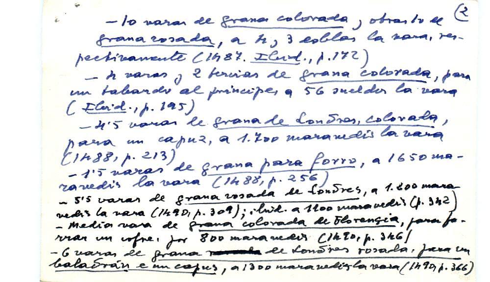 Vista ampliada de la ficha escaneada con el texto para la entrada grana ( 16 de 103 )