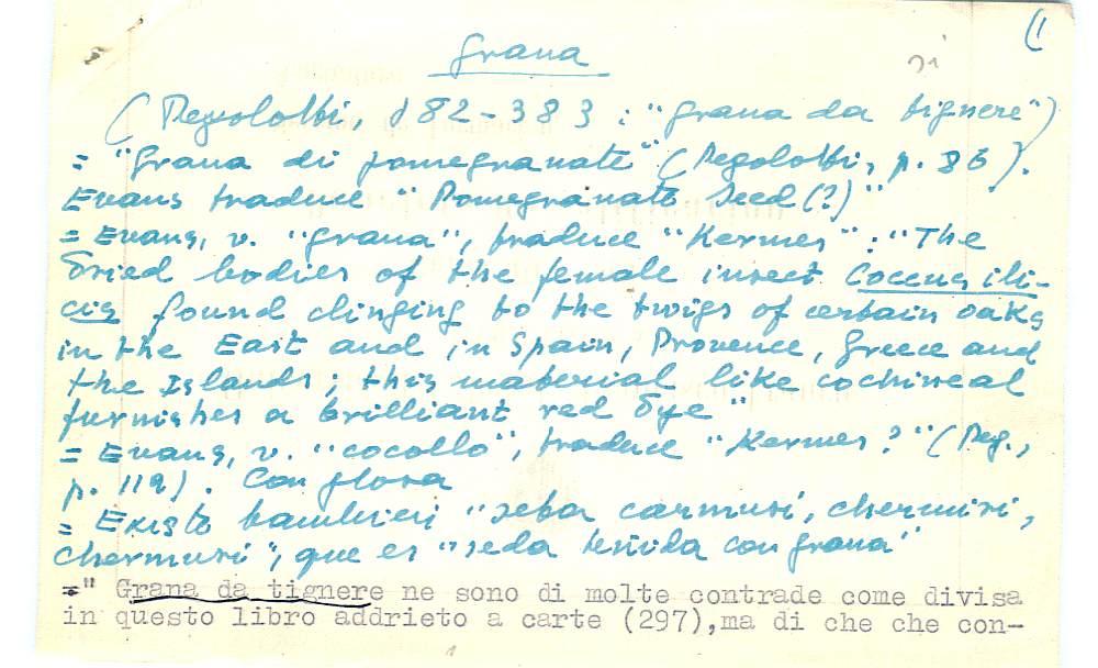 Vista ampliada de la ficha escaneada con el texto para la entrada grana ( 21 de 103 )