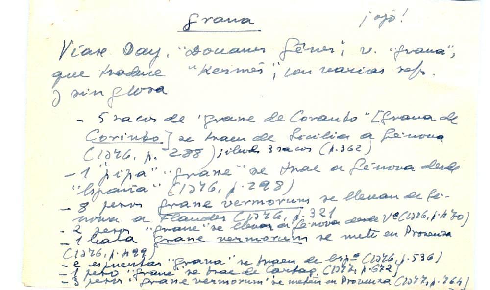 Vista ampliada de la ficha escaneada con el texto para la entrada grana ( 23 de 103 )