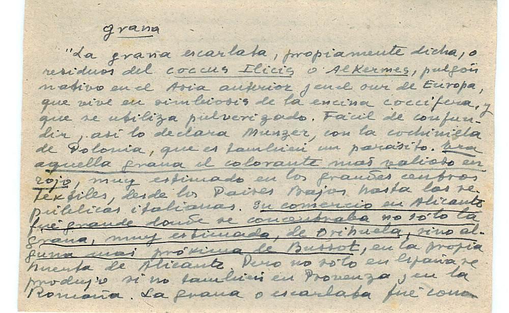 Vista ampliada de la ficha escaneada con el texto para la entrada grana ( 29 de 103 )
