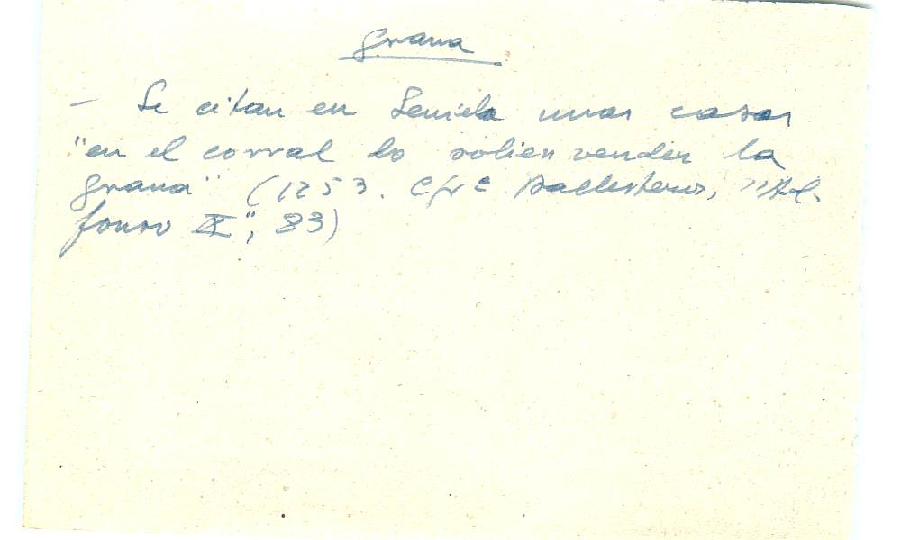 Vista ampliada de la ficha escaneada con el texto para la entrada grana ( 37 de 103 )