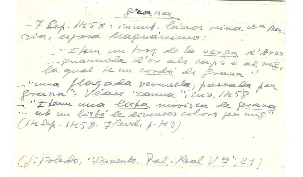 Vista ampliada de la ficha escaneada con el texto para la entrada grana ( 38 de 103 )