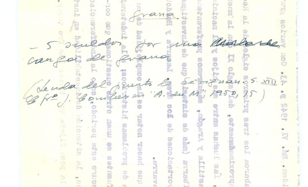 Vista ampliada de la ficha escaneada con el texto para la entrada grana ( 41 de 103 )