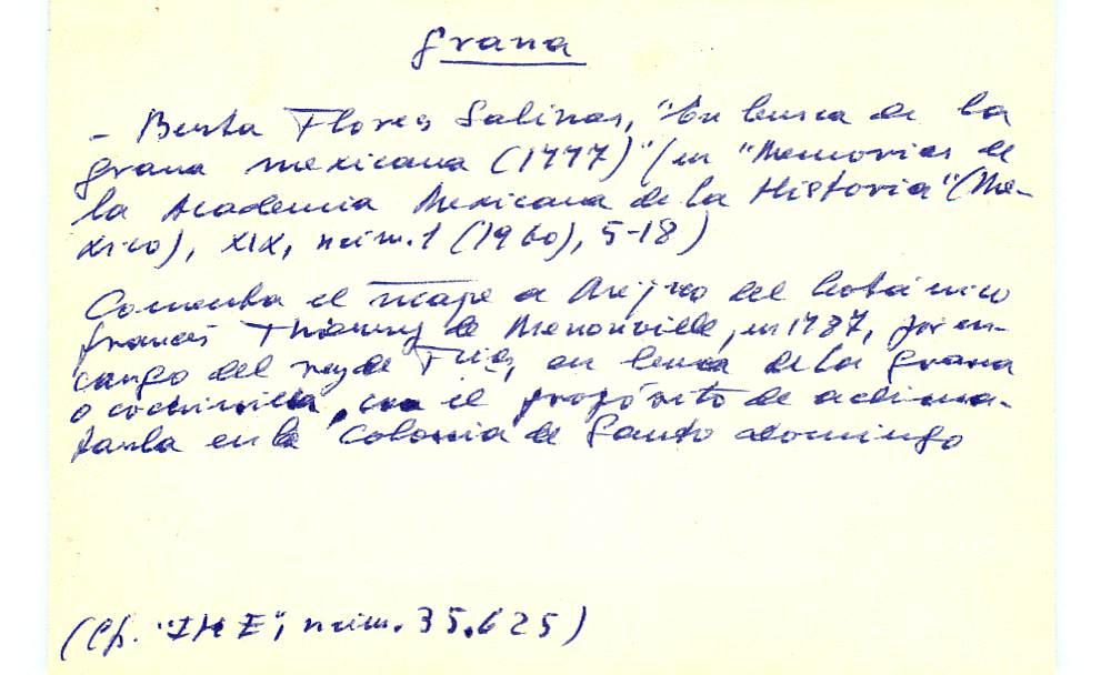 Vista ampliada de la ficha escaneada con el texto para la entrada grana ( 44 de 103 )