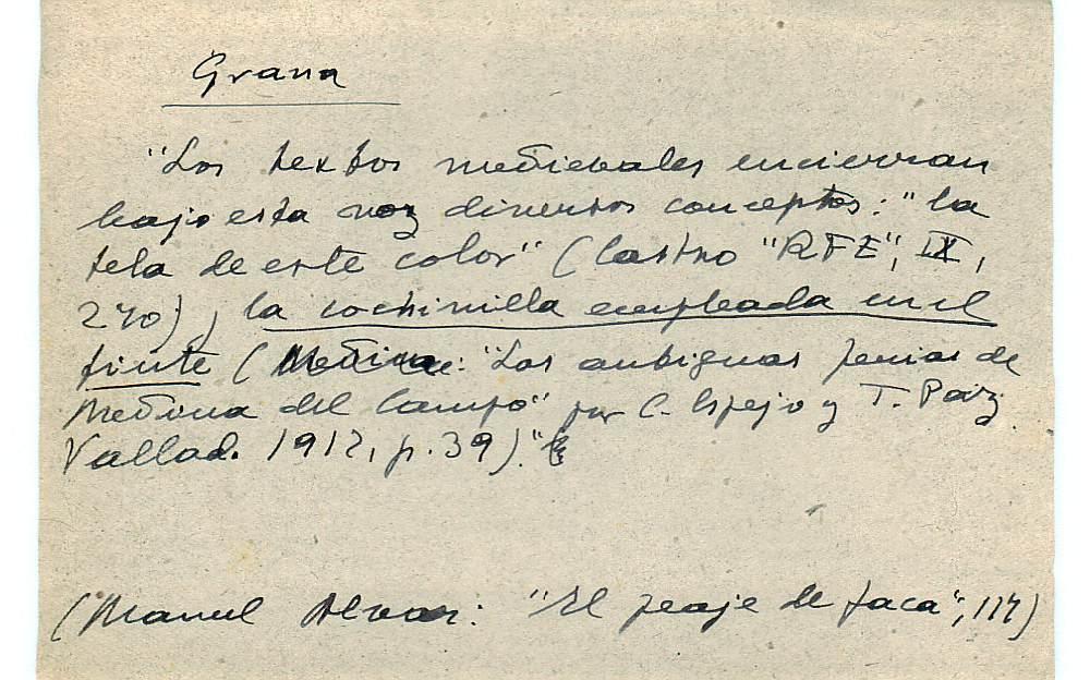 Vista ampliada de la ficha escaneada con el texto para la entrada grana ( 47 de 103 )