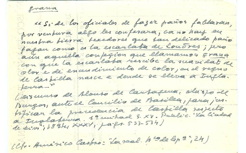 Vista ampliada de la ficha escaneada con el texto para la entrada grana ( 48 de 103 )