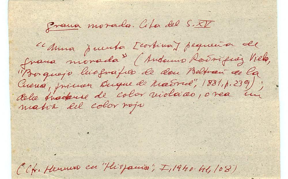 Vista ampliada de la ficha escaneada con el texto para la entrada grana ( 57 de 103 )