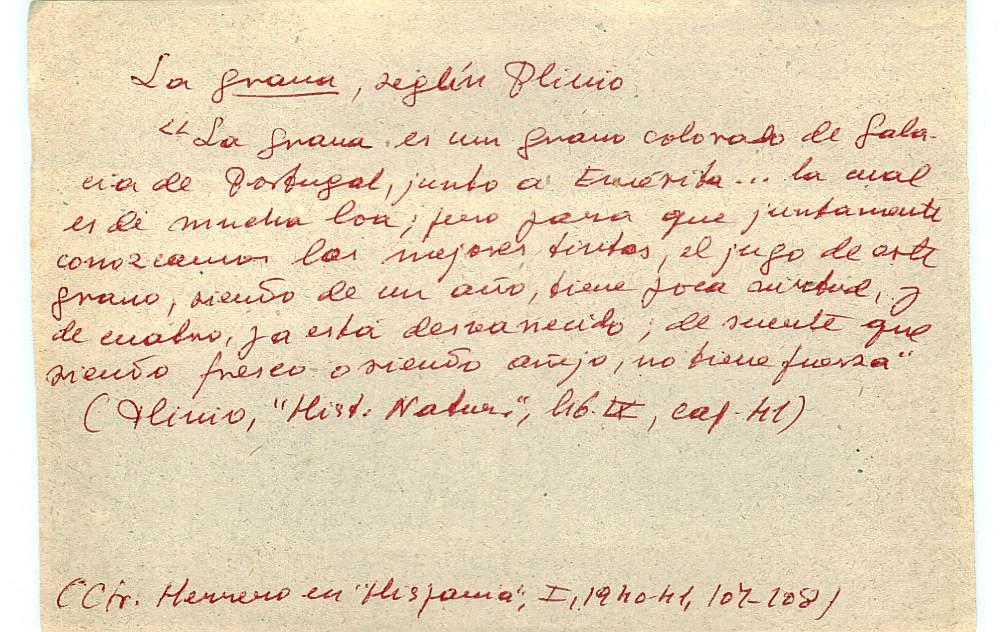 Vista ampliada de la ficha escaneada con el texto para la entrada grana ( 58 de 103 )