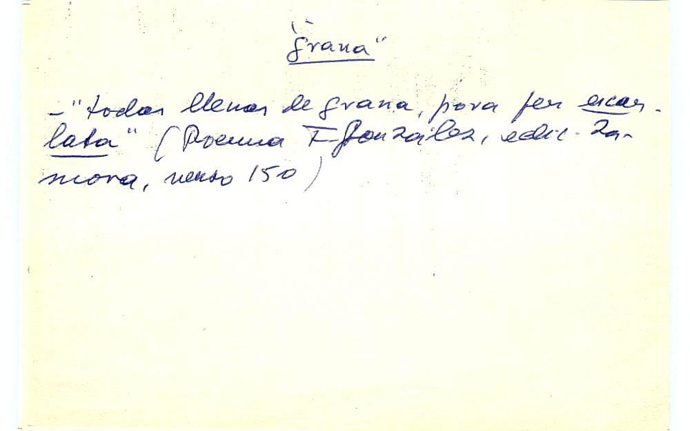 Vista ampliada de la ficha escaneada con el texto para la entrada grana ( 60 de 103 )