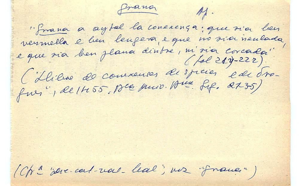 Vista ampliada de la ficha escaneada con el texto para la entrada grana ( 62 de 103 )