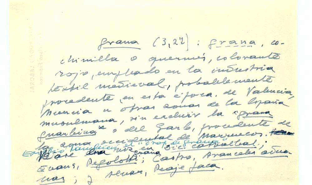 Vista ampliada de la ficha escaneada con el texto para la entrada grana ( 67 de 103 )