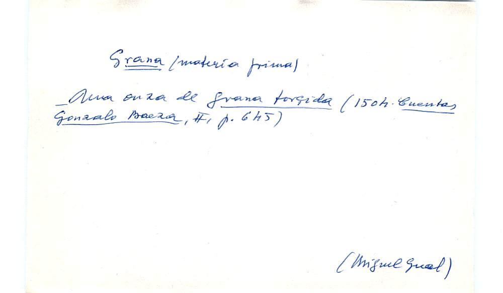 Vista ampliada de la ficha escaneada con el texto para la entrada grana ( 70 de 103 )