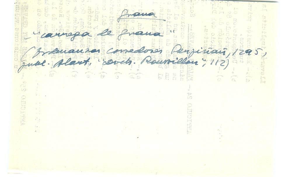 Vista ampliada de la ficha escaneada con el texto para la entrada grana ( 79 de 103 )