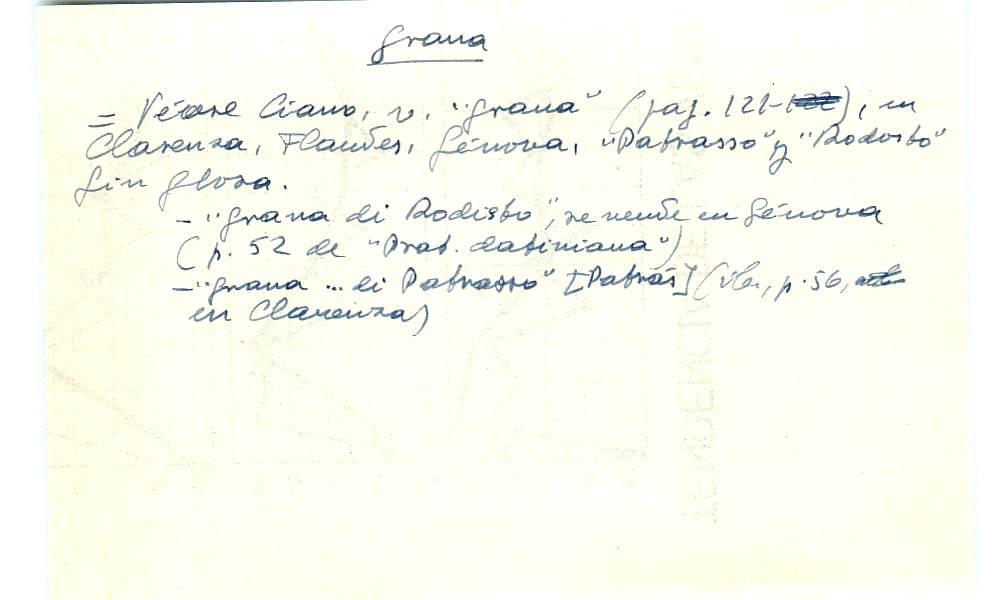 Vista ampliada de la ficha escaneada con el texto para la entrada grana ( 91 de 103 )