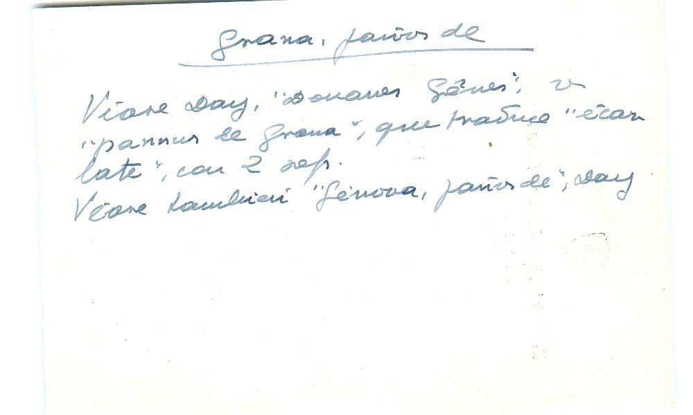 Vista ampliada de la ficha escaneada con el texto para la entrada grana ( 93 de 103 )