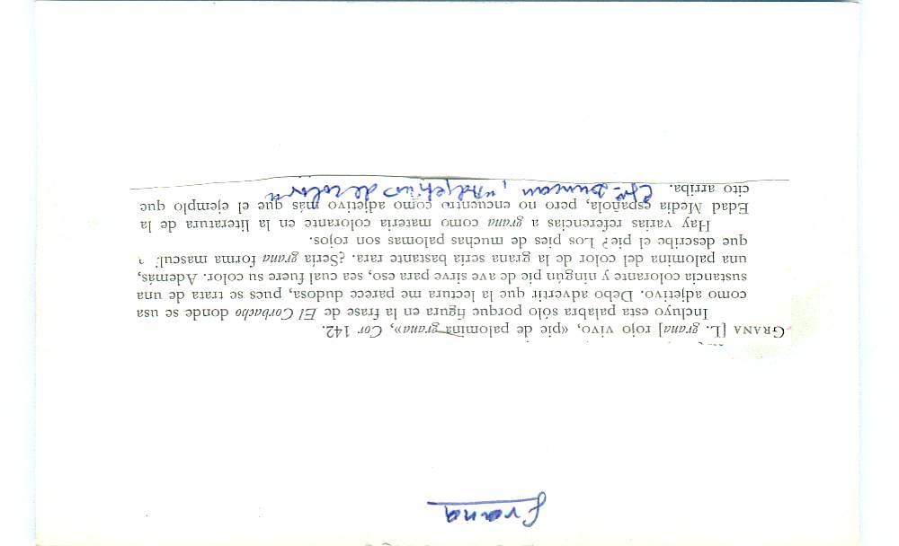 Vista ampliada de la ficha escaneada con el texto para la entrada grana ( 101 de 103 )