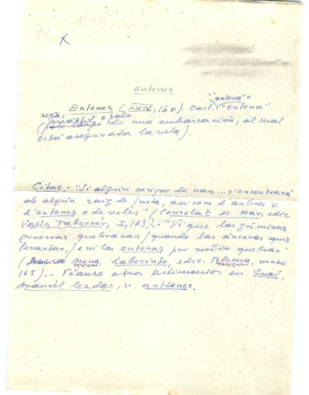 Vista ampliada de la ficha escaneada con el texto para la entrada entena ( 1 de 10 )
