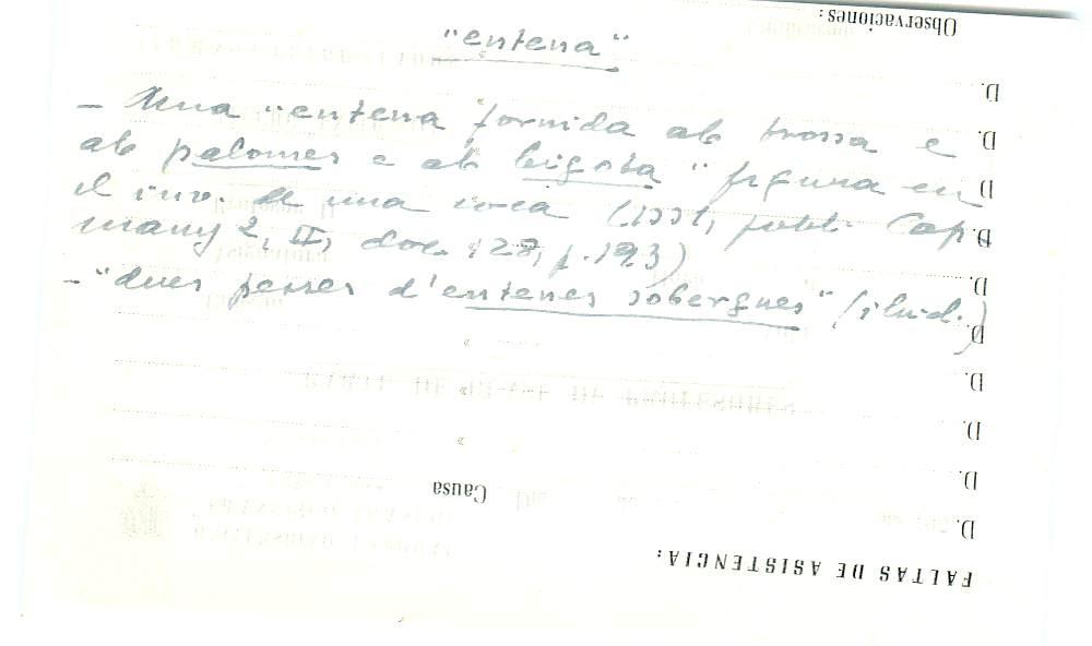 Vista ampliada de la ficha escaneada con el texto para la entrada entena ( 3 de 10 )