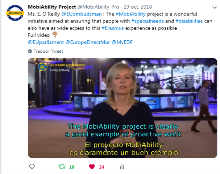 Tweet from the European Ombudsman, talking about the MobiAbility project and the Erasmus+ programe for students with and without disabilitiies