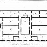 Propuesta de edificio panóptico para escuela graduada. Modelo rectilíneo. R. Blanco