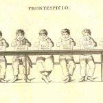 Niños sentados en un banco mostrando una tabla con la inscripción «Viva la Religión». Lancaster (traducción al portugués).
