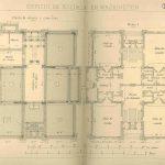 Planos de sótano y planta 1.ª  de escuela de Washington. Jareño