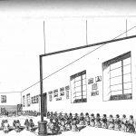 Modelo aula de párvulos. Niños y niñas en los bancos laterales. Montesino.