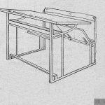 Mesa bipersonal de asiento movible.