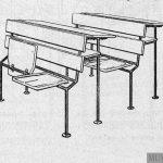 Mesas escolares bipersonales. Modelo 'Liceo'.