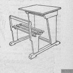 Mesa para párvulos, plana, unipersonal y con asiento fijo.