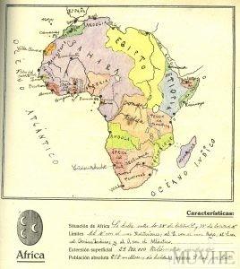 Figura 12.1. Ejercicio de geografía descriptiva. África. Del Arco, L. (1926). Nuevo Atlas para ejercicios gráficos de Geografía general y de Europa. Reus, p. 21.