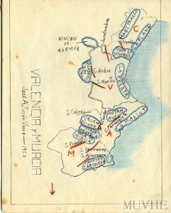 Figura 12.2. Ejercicio de geografía física. Cuaderno escolar de José A. Tusón (1957, p. 7). Fondo CEME.