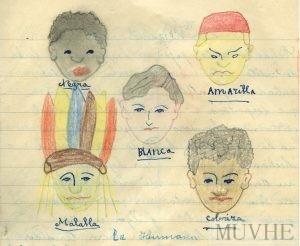 Figura 12.4. Raza blanca situada en el centro del dibujo. Cuaderno escolar de Carmen Fernández (1955-1956, p. 31). Fondo CEME.