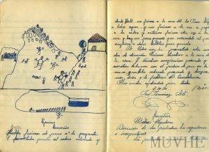 Figura 12.5. Ejercicio de Geografía. Excursión. Cuaderno escolar de José Giménez Soto (1935, pp. 28-29). Fondo CEME.