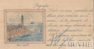 Figura 12.7. Definición y dibujo de un cabo. Cuaderno escolar de Encarnita Bernal (1942, p. 3). Fondo CEME.