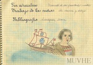 Figura 13.6. Dibujo para lección de Historia. Diario de clase. Ficha pedagógica de Doña Adoración Bautista (1958). Fondo CEME.