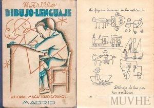Figuras 4.7a y 4.7b. Trillo Torija, Manuel (1935), Dibujo-Lenguaje (Iniciación al dibujo en la escuela). Madrid: Editorial El Magisterio Español, portada y p. 70.