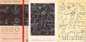 Figuras 4.8a, 4.8b y 4.8c. Trillo Torija, Manuel (1961) 1500 dibujos para el encerado. Libro del maestro. Madrid: Afrodisio Aguado, portada y pp. 15 y 24.