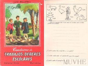 Figura 6.4a y 6.4b. Mallafré, Luis (sin año) Cuaderno de trabajos y deberes escolares. Barcelona: Editorial Roma. Portada y p 8.