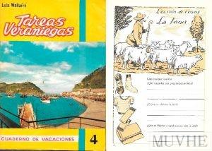 Figura 6.5a y 6.5b. Mallafre, Luis (1963), Tareas veraniegas. Cuaderno de vacaciones 4. Barcelona: Editorial Roma, 3ª edición, portada y p. 16.