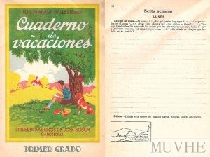 Figura 7.1a y 7.1b. Alabart Ballesteros, Luis (1928), Cuaderno de vacaciones. Primer grado. Barcelona: Librería Bastinos de José Bosch, 2ª edición, portada y p. 54.