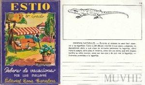 Figura 7.4a y 7.4b. Mallafre, Luis (1943), Estío. Cuaderno de vacaciones. 3er grado. Barcelona: Editorial Roma, 5ª edición, portada y p 43.