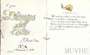 Figura 7.5a y 7.5b. Cuaderno del alumno P. Morales Osete (1954) Dibujos de estío, 4º Grado, portada y página interior.