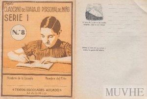 Figura 9.2a y 9.2b. Villar, Aniceto (sin año), Cuaderno de Trabajo Personal. Serie 1. Nº 8. Madrid: Textos escolares Aguado, portada y página interior.